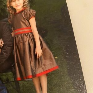 Papo D'Anjo Bronze & Red Holiday/Xmas Card Dress